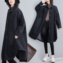 Women's large Autumn 2020 black M [recommended 100-130 kg], l [recommended 130-160 kg], XL [recommended 160-180 kg], XXL [recommended 180-220 kg] Jacket / jacket singleton  commute easy Cardigan Long sleeves Solid color literature Medium length other routine Other / other 40-49 years old rivet