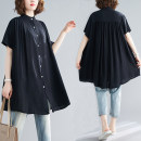 Women's large Summer 2020 black Average size of large size shirt singleton  commute easy thin Cardigan Short sleeve Solid color Korean version stand collar Medium length cotton fold routine Other / other 71% (inclusive) - 80% (inclusive) Medium length