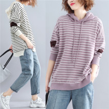 Women's large Autumn of 2018, winter of 2018 Off white, taro purple One size fits all Knitwear / cardigan singleton  commute easy moderate Socket Long sleeves stripe Korean version Hood routine Cotton, acrylic Collage routine Other / other Asymmetry 31% (inclusive) - 50% (inclusive)