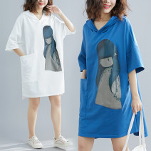 Women's large Summer of 2019 White, blue One size fits all [110-230 Jin] Dress singleton  commute easy moderate Socket Short sleeve Cartoon animation Korean version Hood Medium length cotton printing and dyeing Other / other Medium length