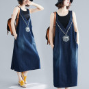 Women's large Summer of 2019, autumn of 2019 blue M [100-120 Jin], l [120-140 Jin], XL [140-160 Jin], XXL [160-200 Jin] Dress singleton  easy moderate Socket Sleeveless Denim Other / other Medium length