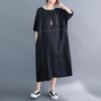 Women's large Summer 2021 black L [recommended 100-160 kg], XL [recommended 160-210 kg] Dress singleton  commute easy moderate Socket Short sleeve Solid color literature Crew neck Medium length cotton routine Other / other 25-29 years old pocket longuette
