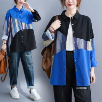 Women's large Autumn 2020 Blue, black L [recommended 100-145 kg], XL [recommended 145-190 kg] shirt singleton  commute easy moderate Cardigan Long sleeves shape literature Polo collar routine hemp Collage routine Other / other Button