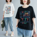 Women's large Summer 2021 White, black L [100-150 Jin recommended], XL [150-200 Jin recommended] T-shirt singleton  commute easy moderate Socket Short sleeve letter literature Crew neck routine cotton Three dimensional cutting Other / other
