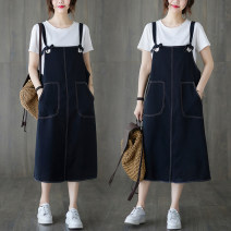 Women's large Summer 2021 Black strap skirt L [recommended 90-120 kg], XL [recommended 120-150 kg], XXL [recommended 150-180 kg] Dress singleton  commute easy moderate Socket Sleeveless Solid color literature Medium length Three dimensional cutting Other / other pocket Medium length