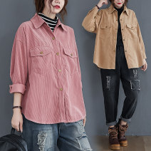 shirt khaki L [100-150 Jin recommended], XL [150-200 Jin recommended] Autumn 2020 cotton 71% (inclusive) - 80% (inclusive) Long sleeves commute Regular Polo collar Single row multi button shirt sleeve Solid color Straight cylinder Other / other Retro pocket polyester cotton