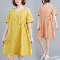 Dress Summer 2020 Orange, yellow, black, bean grey Large size average size [100-200kg recommended] Mid length dress singleton  Short sleeve commute V-neck Solid color Socket A-line skirt routine Type A Other / other literature 91% (inclusive) - 95% (inclusive) cotton