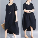 Women's large Summer of 2019, spring of 2019 Dress singleton  commute easy thin Socket Short sleeve Solid color Korean version Crew neck Medium length cotton routine Other / other 71% (inclusive) - 80% (inclusive) longuette Irregular skirt