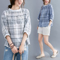 Women's large Summer 2020 White, blue L [100-150 Jin recommended], XL [150-200 Jin recommended] shirt singleton  commute easy moderate Socket elbow sleeve lattice literature stand collar routine hemp Collage raglan sleeve Other / other Button