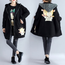 Women's large Winter 2019, spring 2019, autumn 2019 black One size fits all cotton-padded clothes singleton  commute easy thickening Cardigan Long sleeves Cartoon animation Korean version Hood Medium length cotton printing and dyeing Other / other zipper