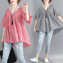 Women's large Summer of 2019 Red, black Large L [100-150 Jin], large XXL [150-200 Jin] shirt singleton  commute easy thin Socket Short sleeve lattice Korean version V-neck cotton Other / other 96% and above