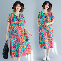 Women's large Summer of 2018 Picture color M [100-125 kg], l [125-150 kg], XL [150-180 kg] Dress singleton  commute easy thin Socket Short sleeve Decor literature Crew neck Cotton, hemp printing and dyeing routine Other / other 31% (inclusive) - 50% (inclusive) other