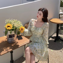 Dress Spring 2021 Picture color S, M Short skirt singleton  Long sleeves commute square neck High waist A-line skirt routine 18-24 years old Korean version XT