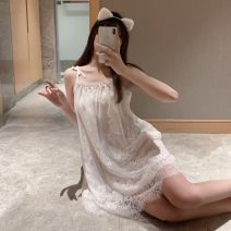 Pajamas / housewear set female Other / other Average size White nightdress, black nightdress, pink nightdress other Sleeveless sexy pajamas summer Thin money Solid color 2 pieces Short skirt