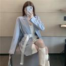 Fashion suit Spring 2021 Average size Black suit (belt), black suspender skirt, blue suit (belt), white suspender skirt 18-25 years old