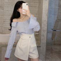 Fashion suit Spring 2021 S. M, average size Blue shirt, white shirt, white skirt, black skirt 18-25 years old
