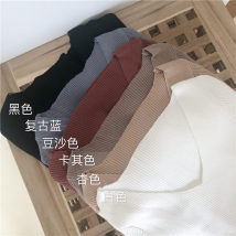 T-shirt Bean paste Retro Blue White Khaki black apricot Average size Summer of 2018 Short sleeve V-neck Self cultivation have cash less than that is registered in the accounts routine commute other 30% and below Korean version