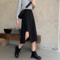 skirt Spring 2021 S,M,L black longuette commute High waist A-line skirt Solid color Type A 25-29 years old More than 95% other polyester fiber zipper Korean version