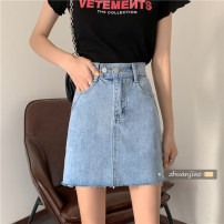 skirt Spring 2021 S,M,L wathet Middle-skirt commute High waist A-line skirt Solid color Type A 18-24 years old 71% (inclusive) - 80% (inclusive) Denim Other / other polyester fiber pocket Korean version