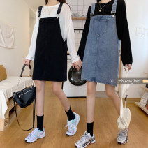 skirt Summer 2021 S,M,L Blue, black Middle-skirt commute High waist A-line skirt Solid color Type A 18-24 years old 71% (inclusive) - 80% (inclusive) Denim Other / other cotton pocket Korean version