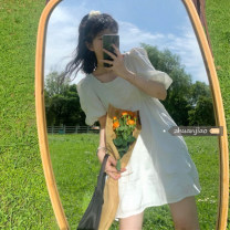 Dress Summer 2021 White, blue, black Average size Mid length dress singleton  Short sleeve commute square neck High waist Solid color other puff sleeve Others 18-24 years old Type A Other / other Korean version 71% (inclusive) - 80% (inclusive) polyester fiber