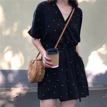 Casual pants black Average size Summer of 2018 shorts Jumpsuit High waist commute routine 18-24 years old 71% (inclusive) - 80% (inclusive)
