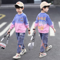 suit Han Chaotong Yellow purple 110cm 120cm 130cm 140cm 150cm 160cm male spring and autumn leisure time Long sleeve + pants 2 pieces routine There are models in the real shooting Socket nothing Solid color cotton children Giving presents at school TZ2771-1 Class C Spring 2021 Chinese Mainland