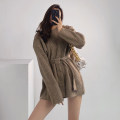 sweater Winter 2020 Average size Light grey, dark grey, khaki, beiapricot Long sleeves Socket singleton  Regular other 51% (inclusive) - 70% (inclusive) Crew neck thickening street routine Solid color Lace up