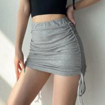 skirt Summer 2020 S,M,L Black, gray, khaki Short skirt street High waist skirt Solid color Type A Europe and America