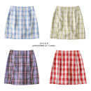 skirt Summer 2020 S,M,L Light blue grid, red grid, purple grid, green grid, yellow grid, light green grid, pink grid, big red grid, red small square grid, black and white grid, coffee grid Short skirt street High waist lattice Type A Europe and America