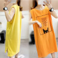 Nightdress Other / other Orange, yellow sexy Sleeveless pajamas longuette summer Cartoon animation youth Crew neck cotton printing 81% (inclusive) - 95% (inclusive)