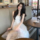 Dress Summer 2021 Picture color S,M,L,XL Mid length dress singleton  Sleeveless commute V-neck High waist Decor Socket A-line skirt routine camisole 25-29 years old Type A Korean version Buttons, beads, gauze, stitching, folds, flowers W0174 More than 95% other polyester fiber