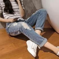 Women's large Spring 2018, summer 2018, autumn 2018 Wash blue Jeans singleton  commute easy moderate Solid color Korean version Denim Hand abrasion hole 91% (inclusive) - 95% (inclusive) Ninth pants Contains (9 oz) - 11 oz