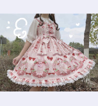 Dress Summer 2020 Large, small Mid length dress singleton  Sleeveless Sweet other Ruffle Skirt other camisole Type A Other / other Bows, folds, prints Lolita