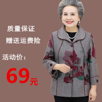 Middle aged and old women's wear Autumn of 2019 fashion Jacket / jacket easy singleton  Decor Over 60 years old Cardigan moderate Crew neck routine other Other / other Button polyester 81% (inclusive) - 90% (inclusive) Single breasted