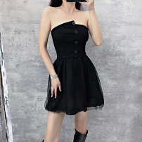Dress Summer 2021 black S,M,L Short skirt singleton  Sleeveless commute One word collar High waist Solid color zipper One pace skirt routine Breast wrapping 25-29 years old Type X Zipper, asymmetric, swallow tail, open back, hollow out, ruffle polyester fiber