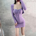 Dress Spring 2021 violet S,M,L Short skirt Two piece set Long sleeves commute V-neck High waist Solid color Socket One pace skirt routine Breast wrapping 18-24 years old Type X Splicing 31% (inclusive) - 50% (inclusive) knitting polyester fiber