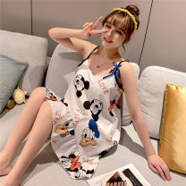 Nightdress Other / other M (for 80-95 kg), l (for 95-115 kg), XL (for 115-130 kg), XXL (for 130-145 kg) Cartoon camisole pajamas Middle-skirt summer Cartoon animation youth V-neck Polyester (polyester) printing More than 95% Snow spinning