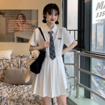 Dress Summer 2021 White, blue S code, M code, l code Short skirt singleton  Short sleeve commute Polo collar High waist Solid color Single row two buttons Pleated skirt other Others 18-24 years old Type A Korean version 31% (inclusive) - 50% (inclusive) other other