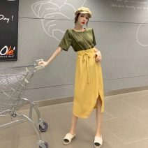 Fashion suit Summer 2020 Average size Dark green top, white top, yellow skirt, black skirt 18-25 years old