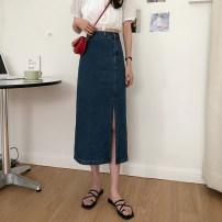 skirt Summer 2021 S,M,L,XL Light blue, dark blue longuette commute High waist Denim skirt other Type A 18-24 years old 31% (inclusive) - 50% (inclusive) other other pocket Korean version