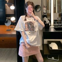 T-shirt S. M, l, average size Summer 2021 Short sleeve Crew neck Straight cylinder Regular routine commute other 31% (inclusive) - 50% (inclusive) 18-24 years old Korean version youth Geometric pattern printing