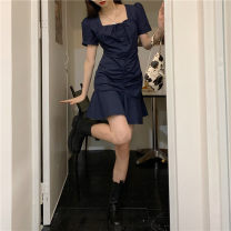 Dress Summer 2021 dark blue S,M,L Short skirt singleton  Short sleeve commute square neck High waist Solid color Socket A-line skirt other Others 18-24 years old Type A Korean version 31% (inclusive) - 50% (inclusive) other