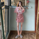 skirt Spring 2021 S, M Pink top, skirt Short skirt commute High waist A-line skirt Solid color Type A 18-24 years old 31% (inclusive) - 50% (inclusive) other other Korean version