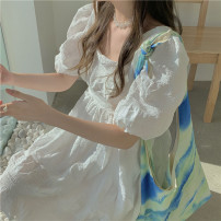 Dress Spring 2021 White, blue, black Average size Middle-skirt singleton  Short sleeve commute square neck High waist Solid color other puff sleeve 18-24 years old Type A Korean version 31% (inclusive) - 50% (inclusive)
