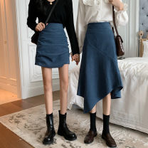 skirt Summer 2021 S,M,L Black skirt, blue skirt, black skirt, blue skirt Short skirt commute High waist A-line skirt Solid color Type A 18-24 years old 31% (inclusive) - 50% (inclusive) other other fold Korean version