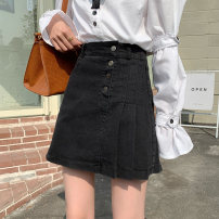 skirt Summer 2021 S,M,L,XL Blue, black Short skirt commute High waist Denim skirt Solid color Type A 18-24 years old 31% (inclusive) - 50% (inclusive) other other Button Korean version