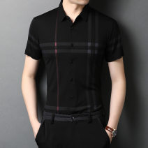 shirt Youth fashion Others M/105/165,L/110/170,XL/115/175,XXL/120/180,3XL/125/185 Black, blue, skin red Thin money other Short sleeve Extra wide daily Four seasons youth Business Casual 2021 stripe No iron treatment Easy to wear