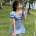 Dress Summer 2021 Baby blue, cream white Average size Short skirt singleton  Short sleeve commute square neck High waist Solid color Socket A-line skirt puff sleeve Others 18-24 years old Type A Other / other Korean version Open back, hollow out, bow tie X4.11 other other