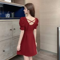 Dress Summer 2021 Red, blue, black S,M,L,XL Short skirt singleton  Short sleeve commute square neck High waist Solid color Socket other puff sleeve Others 18-24 years old Other / other Korean version backless Q3.9 31% (inclusive) - 50% (inclusive) other